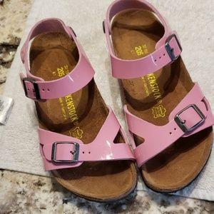 Birkenstocks pink patent leather